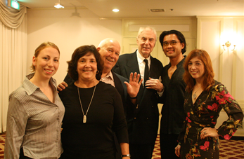 Eric Bentley with the North-American Delegation: Kerri Allen, Carol Douglass, Glenn Loney, Randy Gener and Gwen Orel