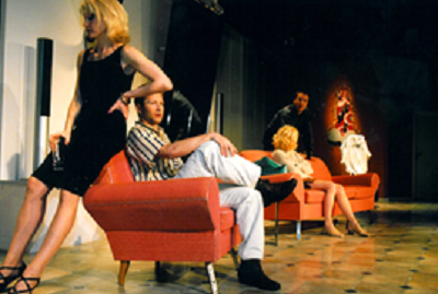 Jaana Järvinen (left) as Katarina, Stefan Karlsson as Tomas, Minna Hämäläinen as Jenna and Esa-Matti Pölhö (now Esa-Matti Long) as Frank in Demonit by Lars Norén at Turku City Theatre, Finland, directed by Pasi Lampela, set design by Kaj Puumalainen, premiere 7 February 2002, ran 19 times