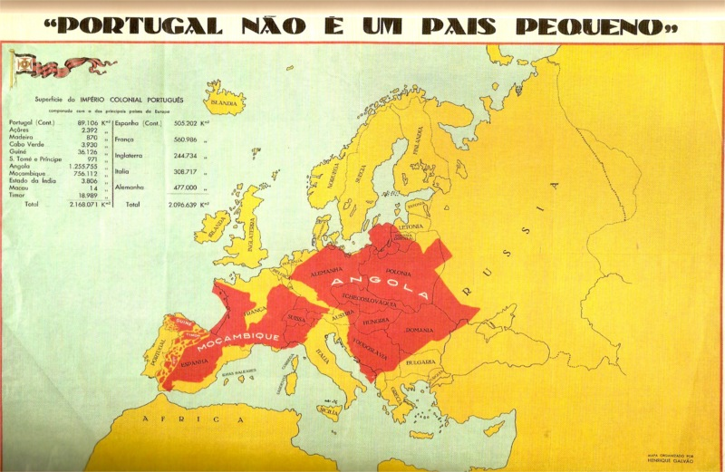 "Map of Portugal in Europe drawn by Henrique Galvão in 1934 for the ""Colonial Exhibition in Oporto."""