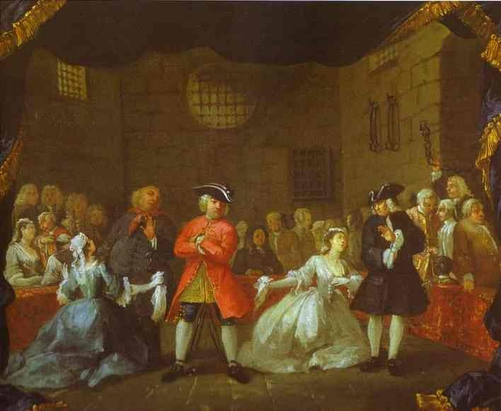A scene from The Beggar's Opera (c. 1728) by William Hogarth. The National Gallery of Art, Washington DC., USA