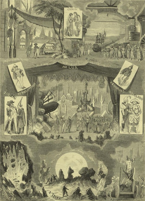 Illustration by Manuel de Macedo in the journal Ocidente (1878-05-15, p.77): Scenes from the fantasy operetta Trip to the Moon.