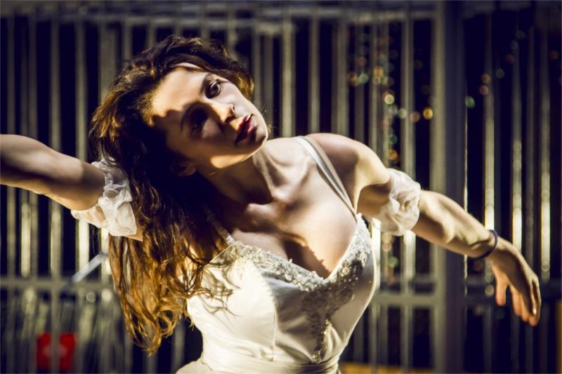 """Oksana Fandera as Karen in """"The Idiots,"""" after the Lars von Trier film. Photo by Alex Joku"""