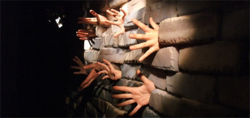 """""""The Wall,"""" directed by Beso Kupreishvili, Fingers Theatre."""