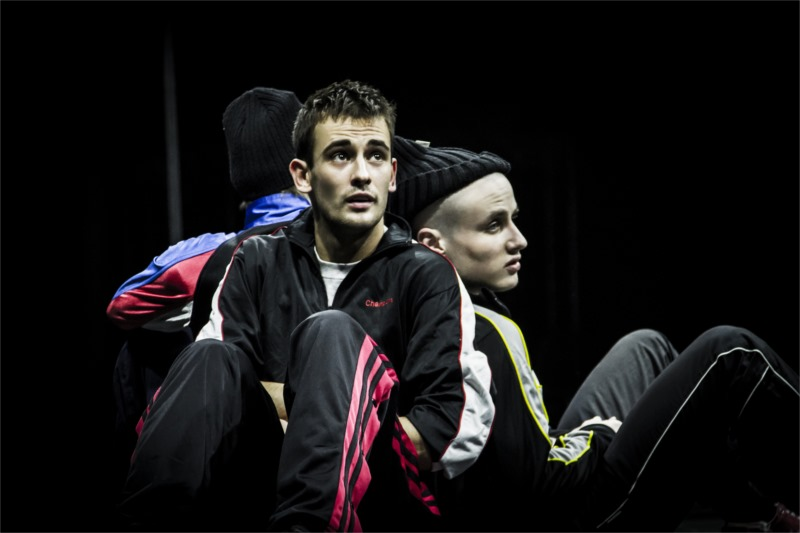 """Rinal Mukhametov (left) as Obmylok, and Nikita Kukushkin as Tyukha in """"The Brothers."""" Photo by Alex Joku"""