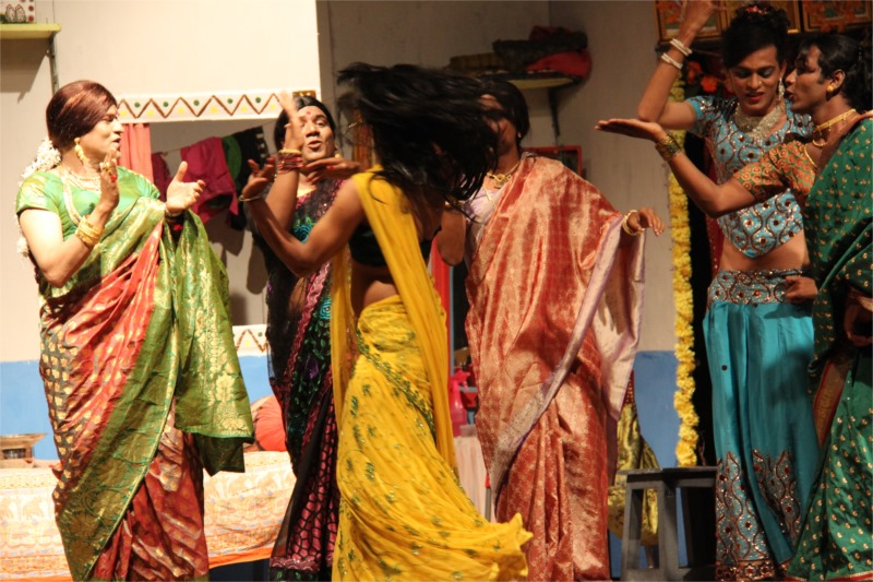 Dimple (in yellow) dancing in gay abandon, to traditional beats and movements. Photo by Ajay Joshi