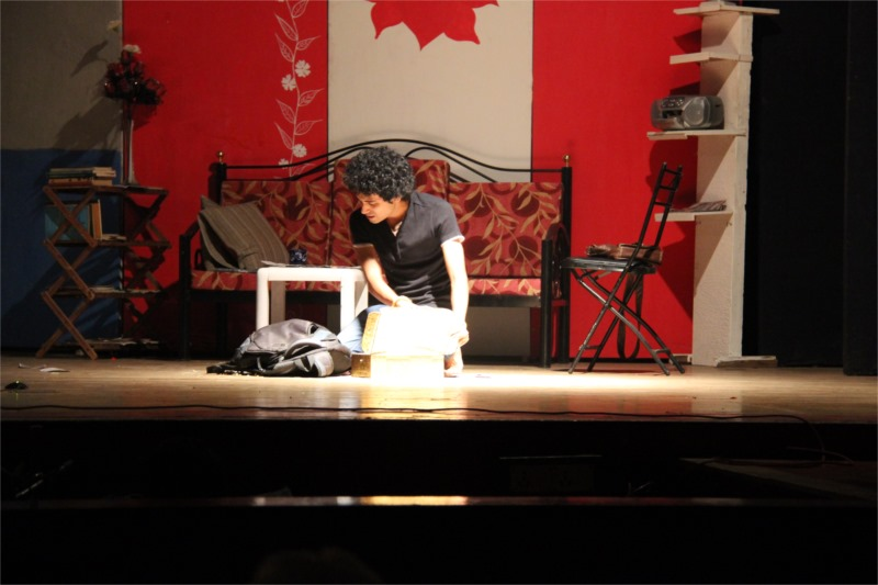 Kiran in his house-a poignant moment in the play. Photo by Ajay Joshi