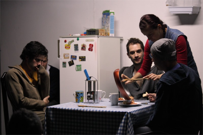 """In the Columbian production, """"The Material Authors,"""" three young men happen to kill their landlord, and hiding the deed becomes difficult when a sister of one of them comes by to cook for them. Photo by Vanja Čerimagić"""