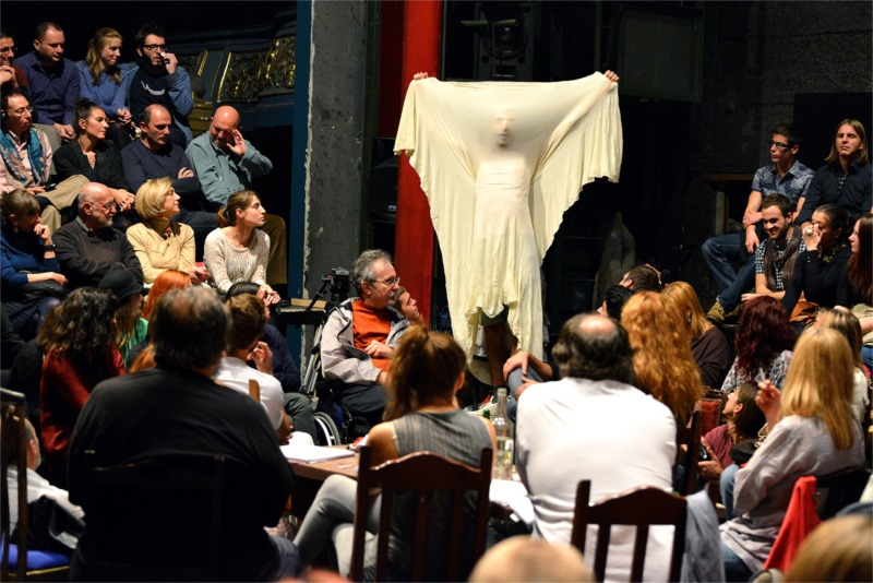 "Jakov appears from amidst the carefully seated spectators in the Serbian ""Seagull."" Photo by Velija Hasanbegović"