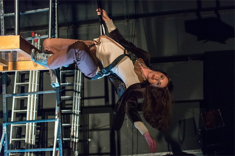 "Acrobatic acting hanging from the ceiling in ""The Secrets of Raspberry Jam."" Photo by Velija Hasanbegović"