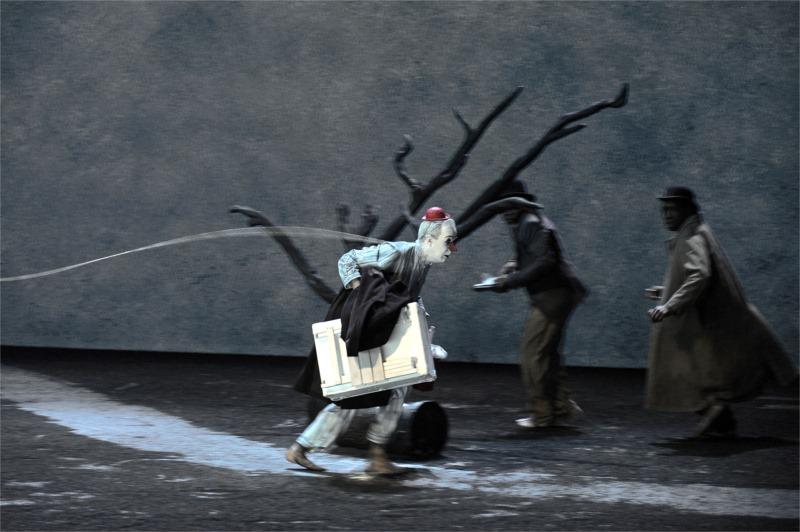 Lucky (Jean Lambert-wild) passes by Vladimir (Michel Bohiri) and Estragon (Fargas Assandé). Photo by Tristan Jeanne-Valès