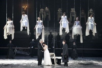 "A crowd scene from ""Eugene Onegin,"" by Rimas Tuminas."