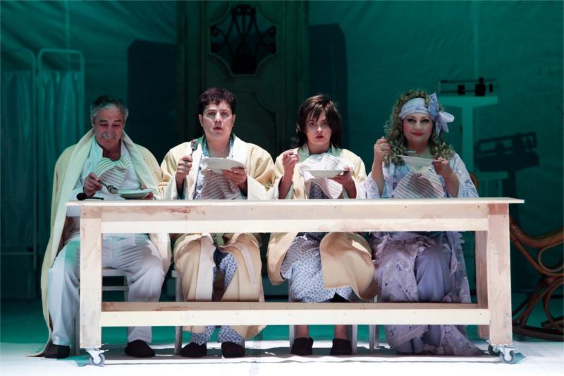 "Parviz Bagirov as Stalin (left), Elshan Jabrayilov as Venusian, Shalala Shahveledgizi as Husband-Wife, and Matanat Atakishiyeva as Sarah Bernhardt in ""Shakespeare."""