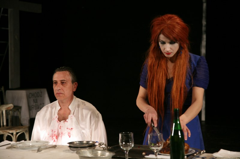 Adrian Andone (Macbeth) and Gina Călinoiu (Lady Macbeth) in The Apocalypse by Shakespeare. Macbeth, National Theatre Craiova, Romania