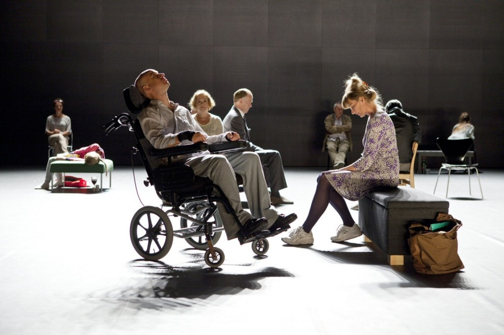Jonas Kruse, Elisabet Carlsson and others in 3.31.93. Premiered at Klarascenen, August 23, 2013. Photo: Petra Hellberg