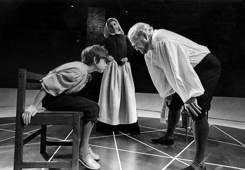 John Edward Mueller as Andrea Sarti, Hal Wines as Mrs Sarti and Robert Prosky as Galileo Galilei in Bertolt Brecht's Galileo, which opened Arena Stage's 30th Anniversary Season in October 1980. Photo: Joe B. Mann