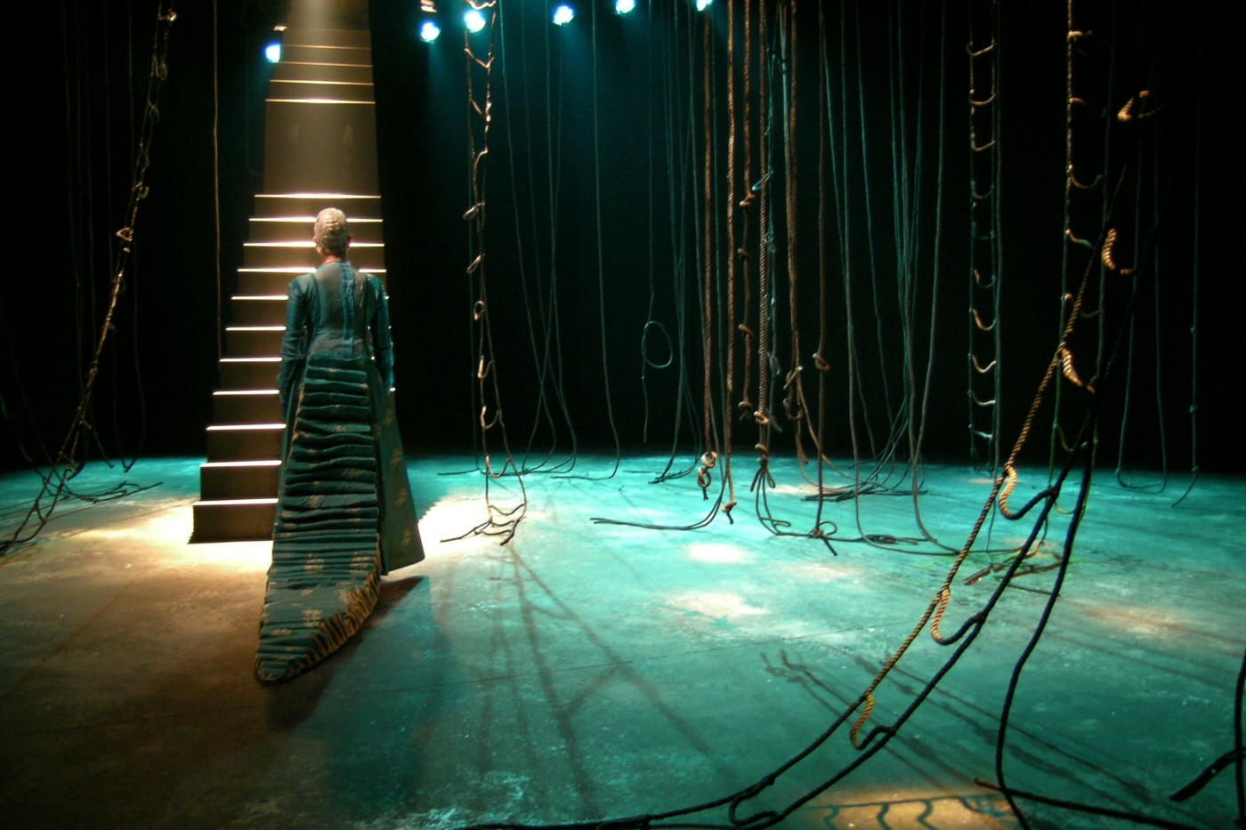 Clytemnestra's Tears (solo production). Written and directed by Avra Sidiropoulou. Dipylo Theatre, Athens 2004; La MaMa ETC, New York City, 2007. Photo: Marilena Stafylidou