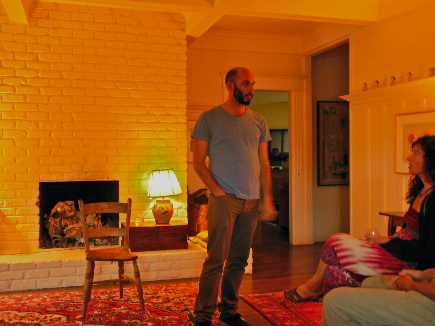 Wiley Naman Strasser (Peter) in Wolves, by Paul Heller; dir. Rem Myers. Lupine Productions, San Francisco. Living room, Oakland, CA. August 2015. Photo P. Heller