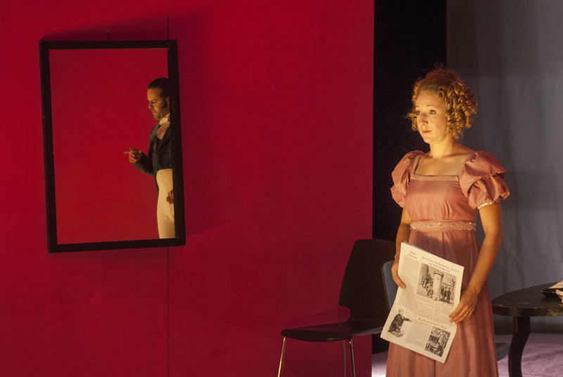 Marie Štípková as Geesche Gottfried in the Bremen Freedom production of the Kladno City Theatre. In the mirror one of her many suitors and future victims. Photo by Jaroslav Prokop, BiankaChládeková, TomášHeřmánek and Martin Vlček