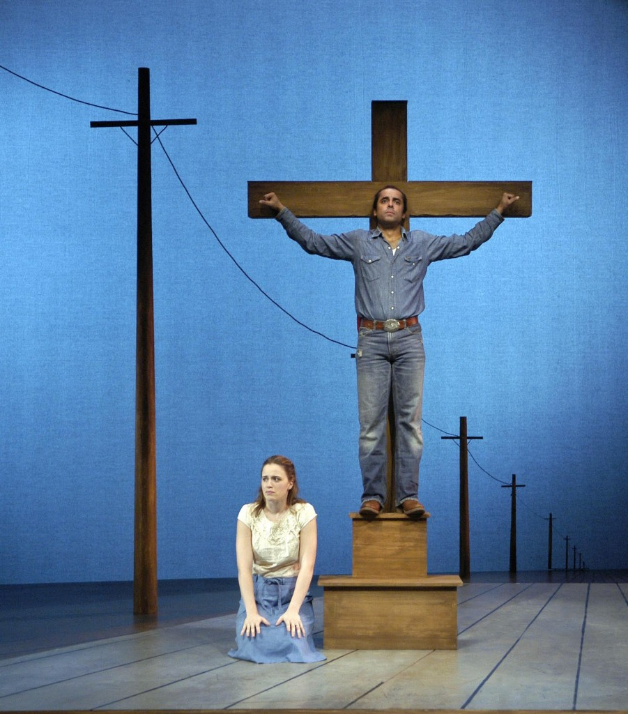 Passion Play, a Cycle by Sarah Ruhl, at Arena Stage in Washington, D.C. (2008). Director: Molly Smith. Dramaturg: Mark Bly (l-r): Kelly Brady and Howard W. Overshown. Photo: Scott Suchman