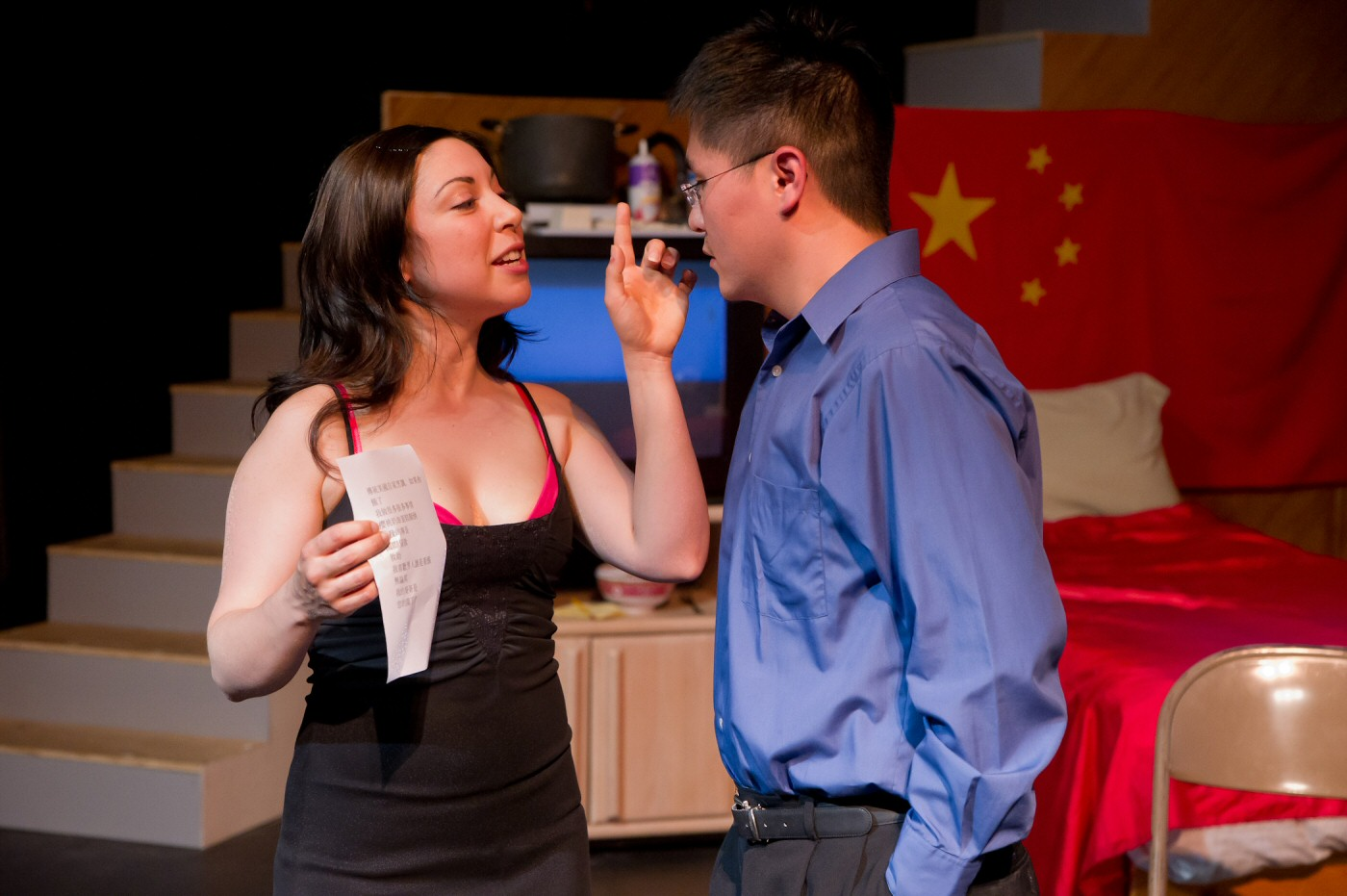 Erika Salazar (Samantha) and Stephen Hu (a john) in Beijing, California, by Paul Heller, dir. Duy Nguyen. Thick House Theater, San Francisco, CA, prod. Asian American Theater Company, San Francisco. Photo Guy Stilson