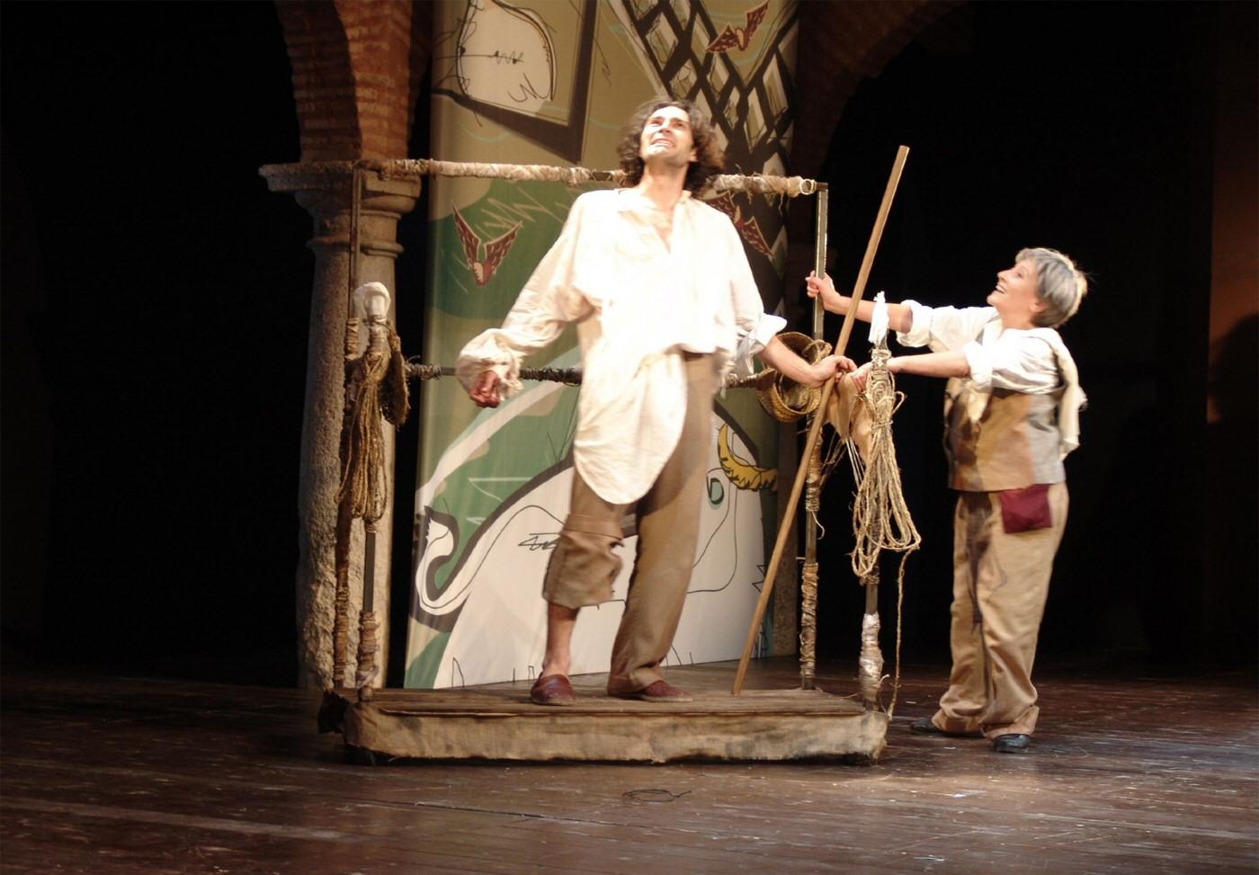 La Noche de los Quijotes (La más fingida ocasión). Festival de Almagro, 2005. Mise en scène de Liuba Cid. Israel Elejalde et Maite Brik. Photo : Liuba Cid