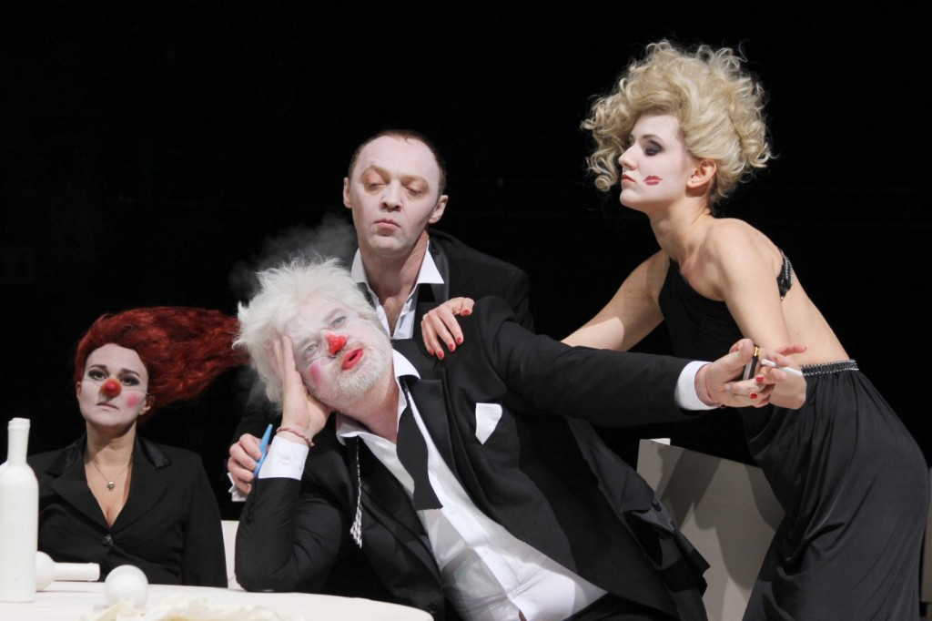 Actors from the Chekhov Moscow Art Theatre in Ivan Vyrypaev's The Drunks, directed by Viktor Ryzhakov.