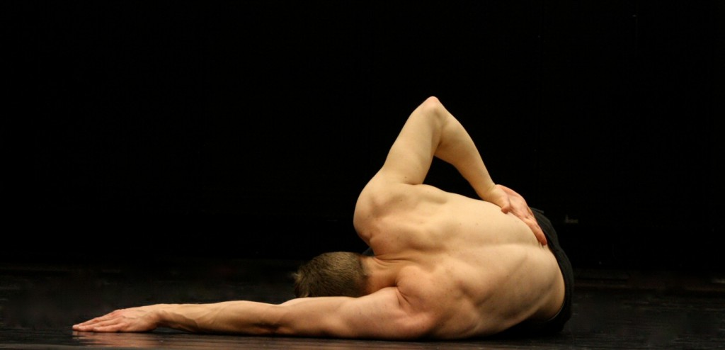 Musician Jonas Nordberg becomes a dancer in the performance piece sofa(r), a meditation on life, death and the potential afterlife created with choreographer Kenneth Kvarnström. Photo provided by Teaterunion Sweden.