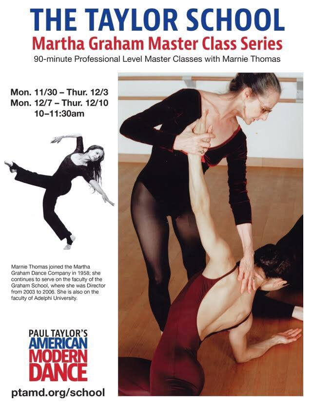 Marnie Thomas Wood teaching Graham Technique; poster for November-December 2015 master class at Paul Taylor School in New York. Photo by Lawrence Scott
