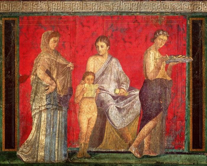 Fresques murales de l'Antiquité romaine dans la Villa dei Misteri à Pompéi (environ 60 av. Jésus Christ)
