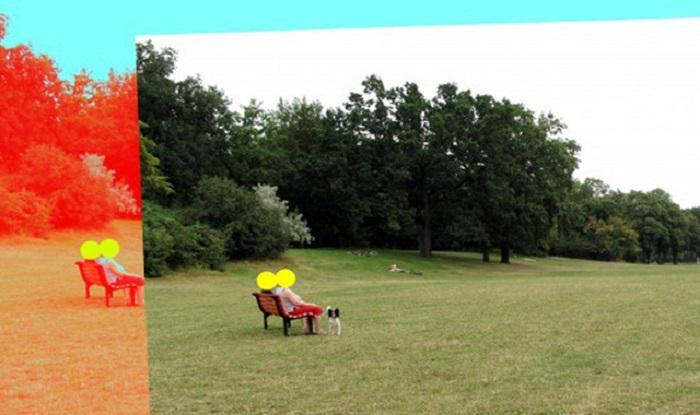 """Ant Hampton et son """"auto-theater"""", Hello for Dummies, Autoteatro for Two Strangers on a Bench (2011) mise en scène de Ant Hapton, texte de Glen Neath © Ant Hampton"""