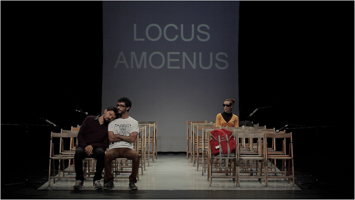 Locus Amoenus, created and interpreted by Albert Perez, Miquel Segovia, and Mònica Almirall (Atresbandes). Photo: Aaron Sánchez.