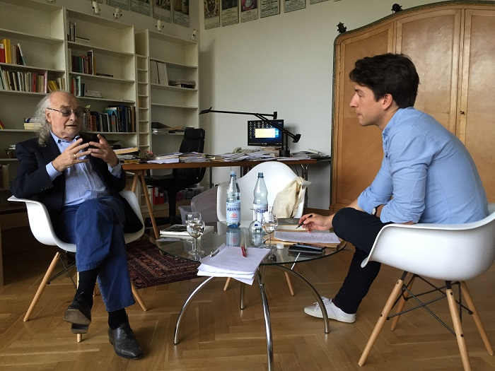 'Roberto Ciulli and the author during an interview about the Theaterlandscapes project'. Source: Alexander Wewerka