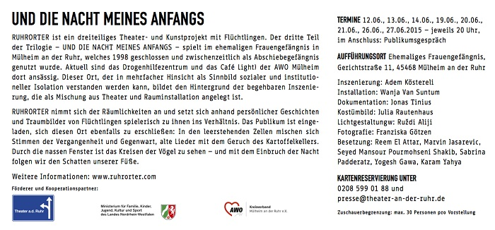 Front and back of flyer for the project's 2015 theatre and installation Und die Nacht meines Anfangs ('And the night of my beginning') in Mülheim's former women's prison. Photograph by Franziska Götzen