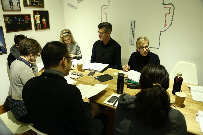 """Photo from the first reading of When Swallows Cry in """"New Text, New Stage II""""—Session 2 (2016), Shanghai. Photo: Courtesy of Fabrizio Massini"""