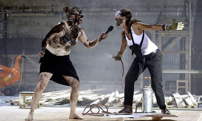 Stefanie Reinsperger (left) and Catrin Striebeck in a scene from the Burgtheater production of Wolfram Lotz's The Ridiculous Darkness. Photo by Georg Hochmuth