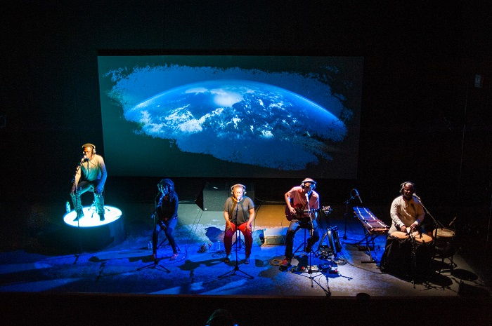 The cast produces the sounds, the music and the dialogue for Last Dream on Earth. Photo by Tommy Ka-Gen Wan