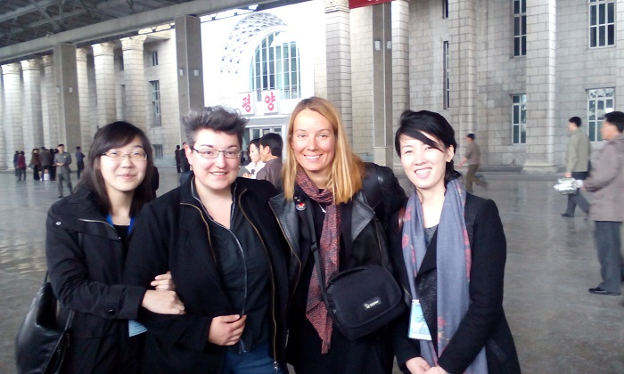 Olga Dimitrijević, centre left, and Maja Pelević, centre right, with guides, document their North Korean journey in Freedom: The Most Expensive Capitalist Word. Photo by Dimitrijević and Pelević