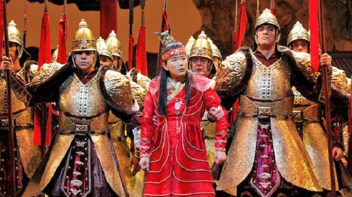 Yijie Shi as Bao Yu. The final climax: Bao Yu duped along with the matriarch who duped him. Photo: Cory Weaver/San Francisco Opera