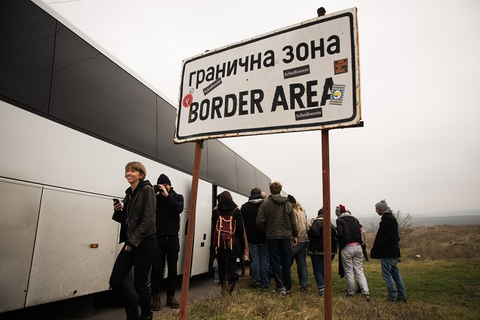 Border crossing from Serbia to Bulgaria in The First Fall of the European Wall.