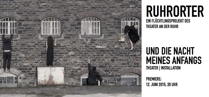 Front and back of flyer for the project's 2015 theatre and installation Und die Nacht meines Anfangs (And the night of my beginning) in Mülheim's former women's prison. Photo: Franziska Götzen