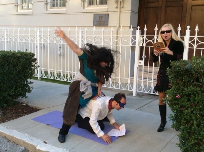"""Viy,"" by Nikolai Gogol, in front of the Russian Consulate in SF, 20 June 2015. Photo by Steven Gray"
