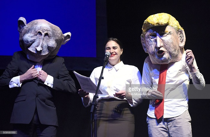"Puppet Show, Trump and Putin at ""Pussy Riot"" show at The Warfield concert venue, SF, 10 February 2016, Photo by Getty Images"