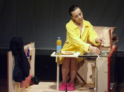Luck helps those who dare (a performance containing 3 monologues by Franz Xaver Kroetz). ACT Theater in Bucharest. Directed by Gianina Carbunariu. Premiered in 6th December 2004. Photo: courtesy of ACT Theater. In the photo: Coca Bloos.