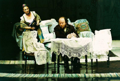 Oblovov after I.A.Goncearov. Bulandra Theater in Bucharest (Romania). Dramaturg Mihaela Tonitza Iordache. Directed by Alexandru Tocilescu. Stage designer Dragoş Buhagiar. Premiered on 7th June 2003. Photo by Paco Pascal Pamfil. In the photo: Virginia Mirea, Mihai Constantin.