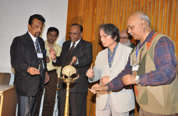 Ravi Chatirvedi (forst from the right), president of Indian Society of Theatre Research. Prof. N.K. Chauhan (first from the left), conference coordinator, Chairman of the Hindi Department of Sadar Patel University