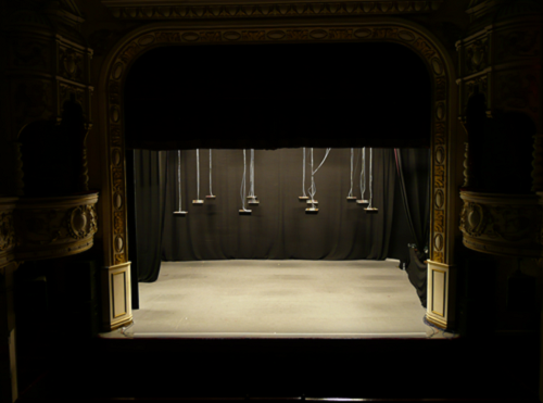The stage set for the start of After Dubrovka at The Grand Theatre, Lancaster, UK, © Neil Mackenzie.