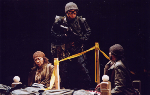 Nishida Kyoko, Chiba Tetsuya, Shinakawa Tory in The Other Side. April 12, 2004. New National Theatre of Japan © Courtesy Michoo Company.
