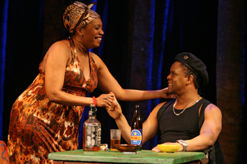 Lynn Nottage's RUINED directed by Kate Whoriskey at Manhattan Theatre Club at New York City Center - Stage I (131 West 55th Street). Pictured (L to R): Saidah Arrika Ekulona as 'Mama Nadi' and Kevin Mambo as 'Commander Osembenga' © 2009, Joan Marcus.