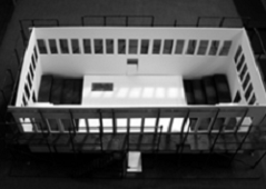Model for Act I of the Dybbuk (the section in black are the audience seating)
