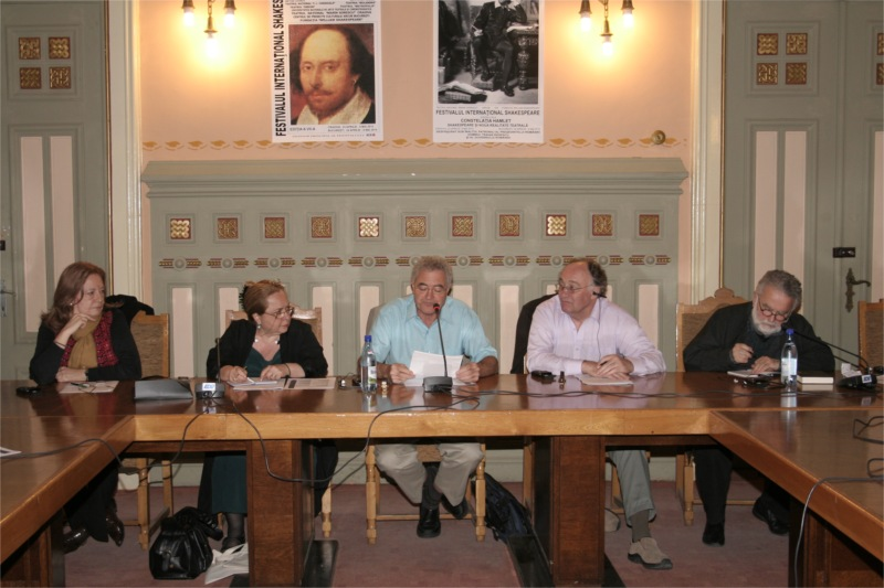 The Shakespeareology Panel: Alice Georgescu, Ludmila Patlanjoglu, Michel Vais, Jan Herbert, George Banu